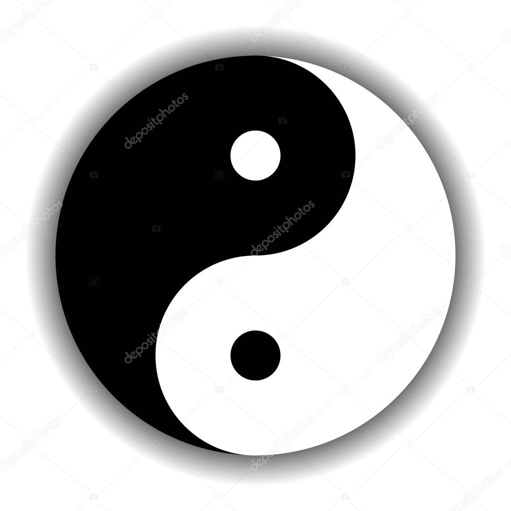 Pace Bianco E Nero yin yang symbol icon in black and white — stock vector