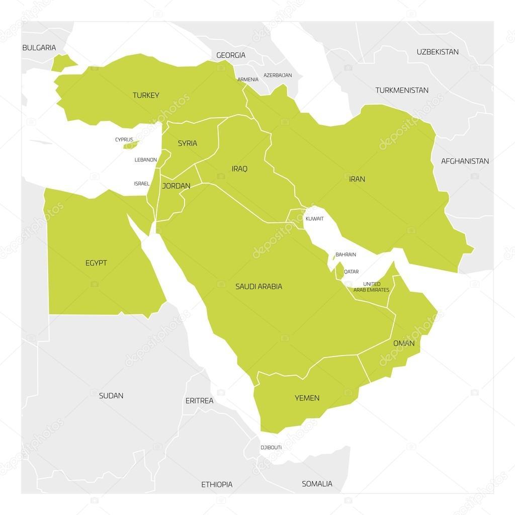 västra asien karta Karta över Mellanöstern — Stock Vektor © pyty #128247990 västra asien karta