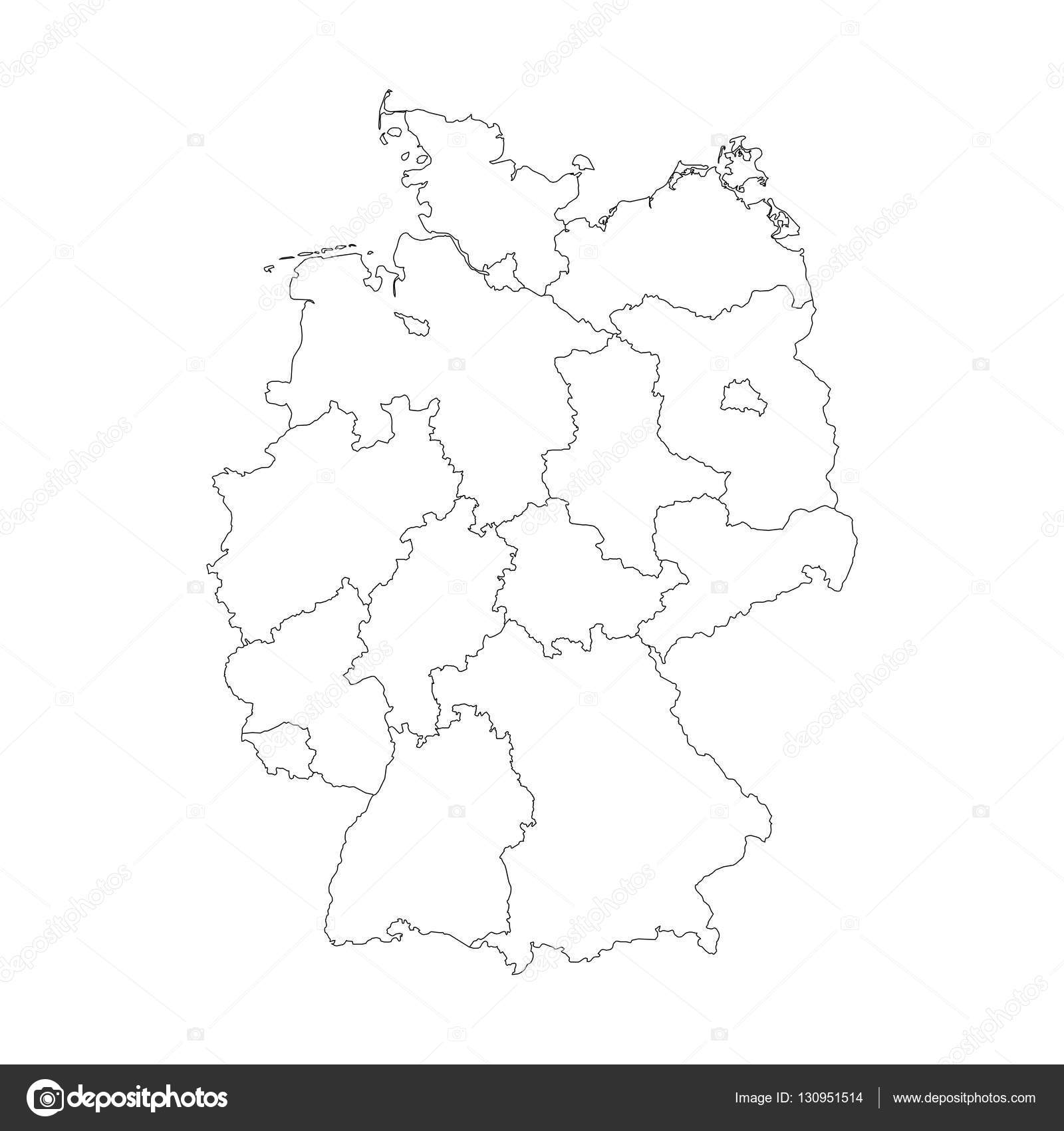 map of germany divided to federal states stock vector