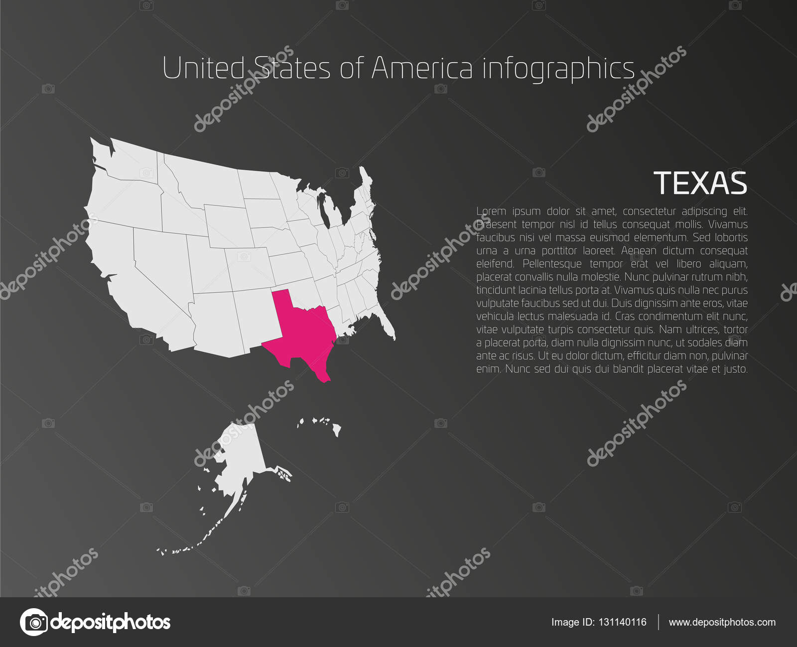 USA map infographics template with highlighted Texas — Stock Vector ...
