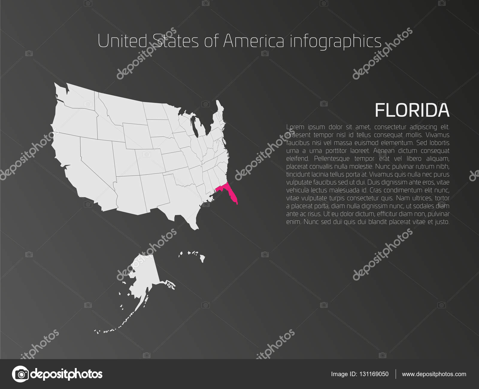 USA Karte Infografiken Vorlage mit hervorgehobenen Florida ...