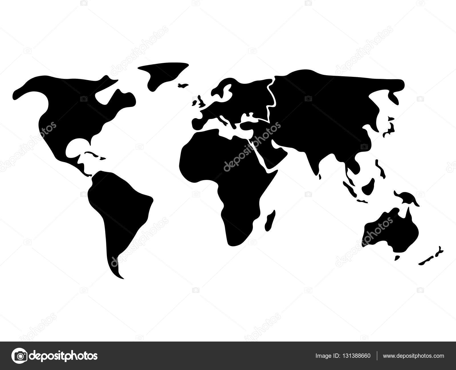 Black simplified world map divided to continents stock vector world map divided to six continents in black north america south america africa europe asia and australia oceania simplified silhouette blank vector publicscrutiny Image collections