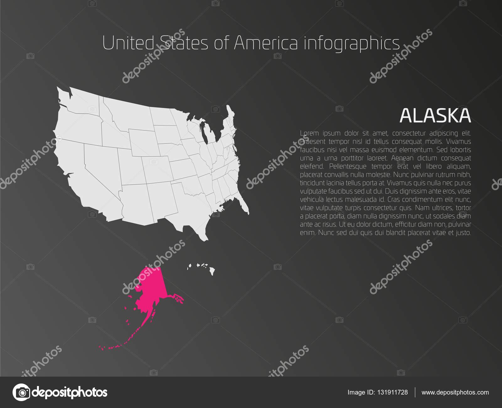 USA Map Infographics Template With Highlighted Alaska Stock - Alaska highlighted on us map