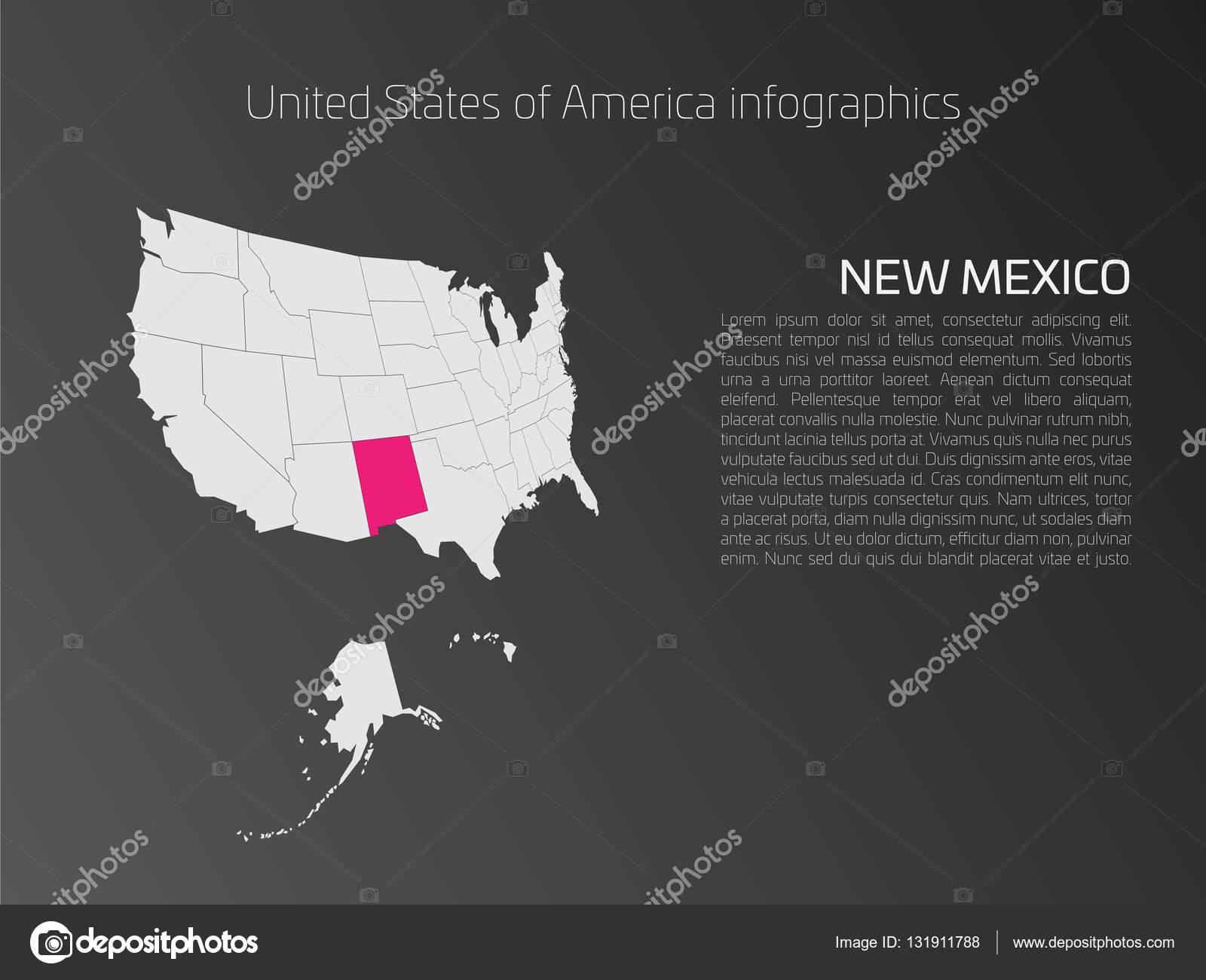 USA Karte Infografiken Vorlage mit hervorgehobenen New Mexiko ...