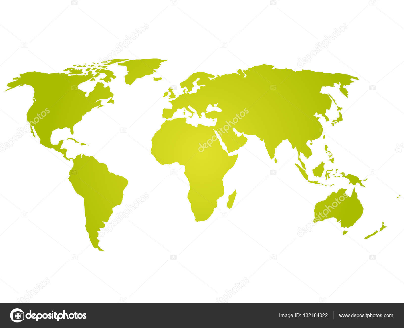 Map Of World. Green Silhouette Vector Illustration With Gradient On White  Background. Simple Flat Vector Illustration. U2014 Vector By Pyty