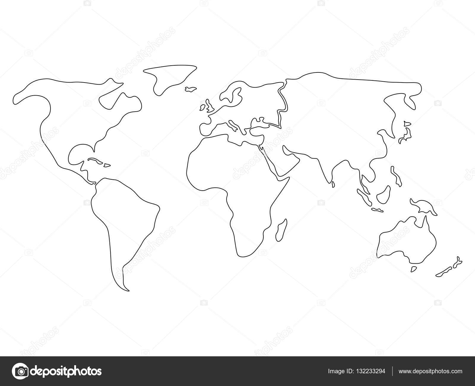 simplified world map divided to continents simple black outline