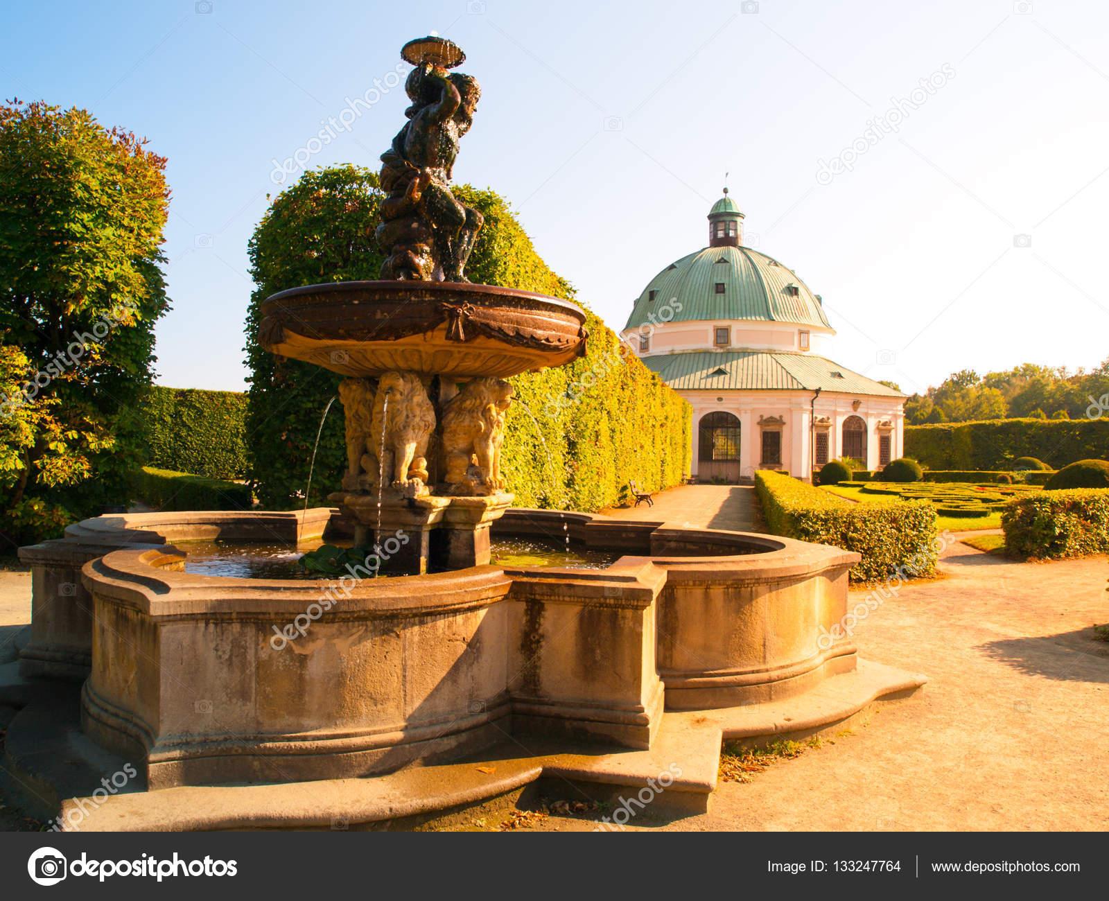 Flower Garden with water fountain and baroque rotunda in Kromeriz ...