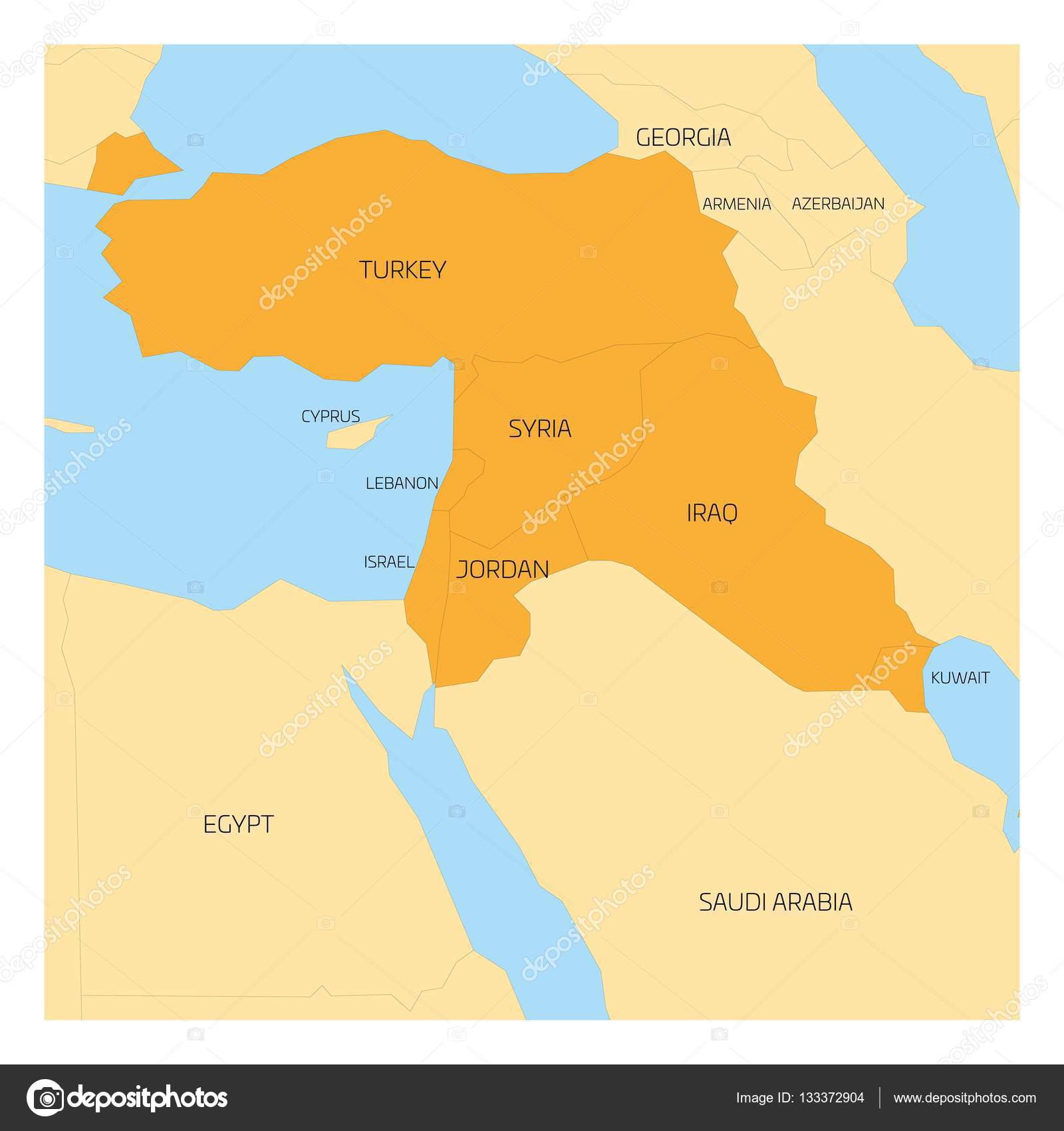 Map of middle east region stock vector pyty 133372904 map of middle east or near east transcontinental region with orange highlighted turkey syria iraq jordan lebanon and israel flat map with yellow land gumiabroncs Image collections