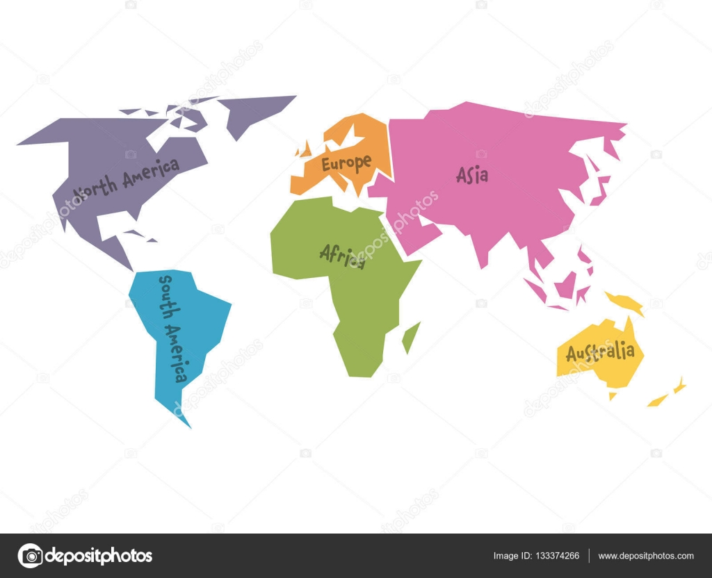 Simplified world map divided to six continents in different colors simplified world map divided to six continents in different colors simple flat vector illustration gumiabroncs Image collections