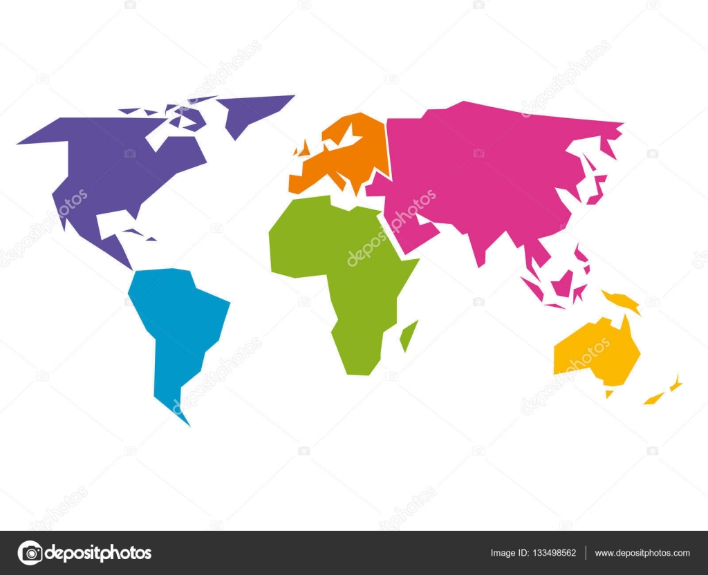 Simplified world map divided to six continents in different colors simplified world map divided to six continents in different colors simple flat vector illustration gumiabroncs Images