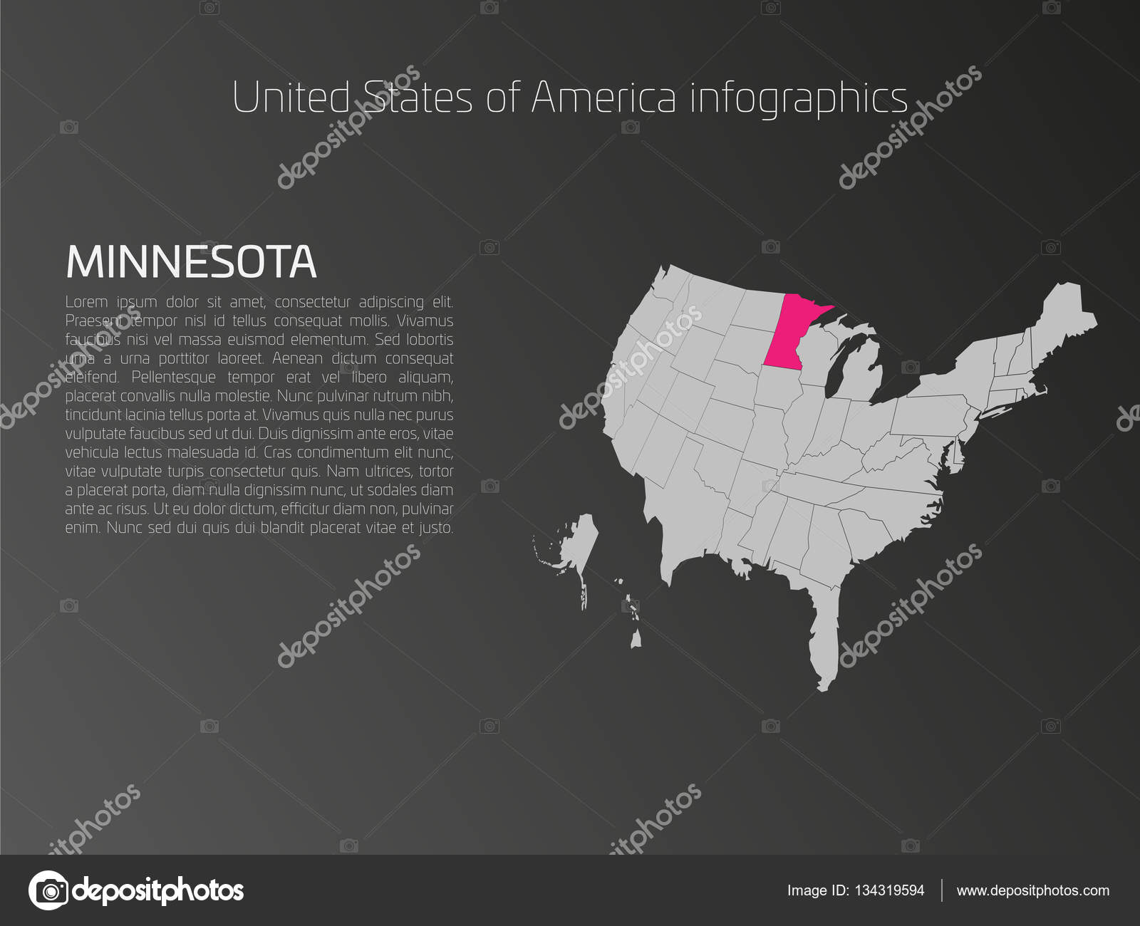 USA Karte Infografiken Vorlage mit hervorgehobenen Minnesota ...
