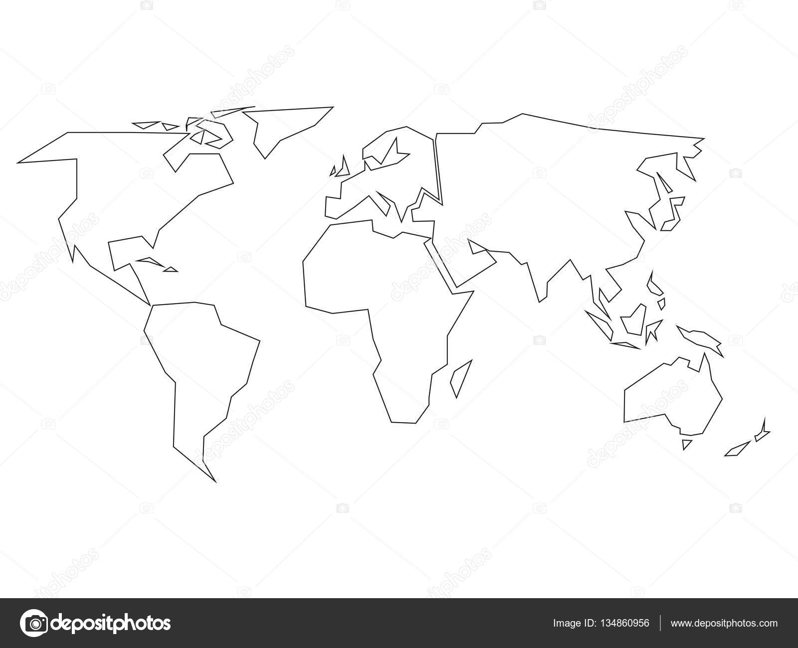 Simplified black outline of world map divided to six continents simplified black outline of world map divided to six continents simple flat vector illustration on white background vector by pyty gumiabroncs Gallery