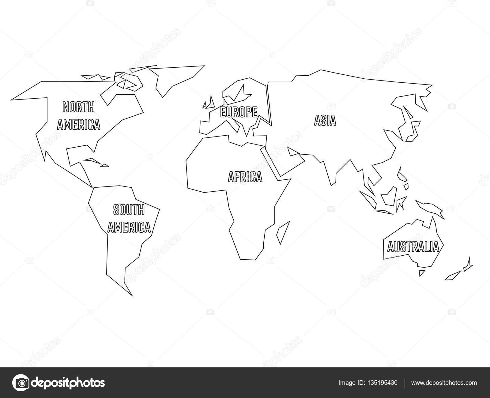 vereenvoudigde zwarte omtrek wereldkaart verdeeld op