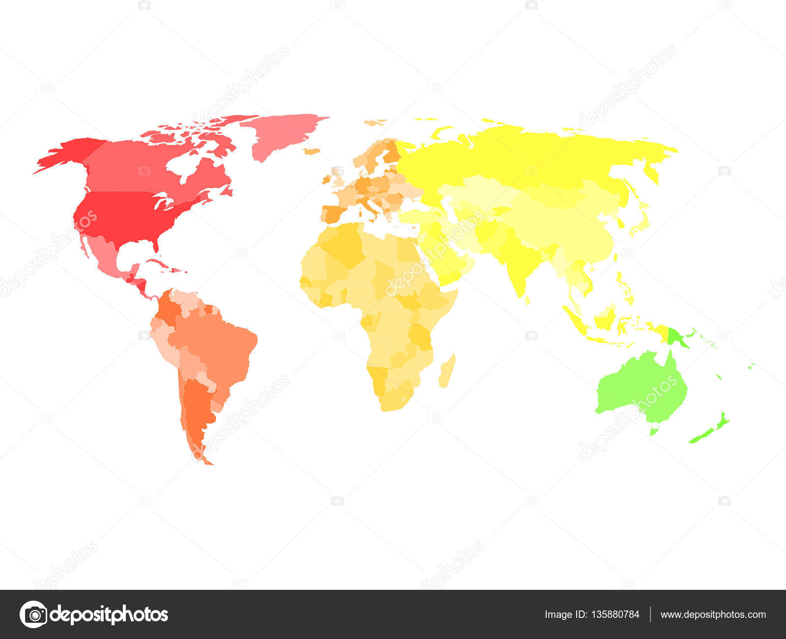 Blank simplified political map of world in different colors of each blank simplified political map of world in different colors of each continent stock vector gumiabroncs Images