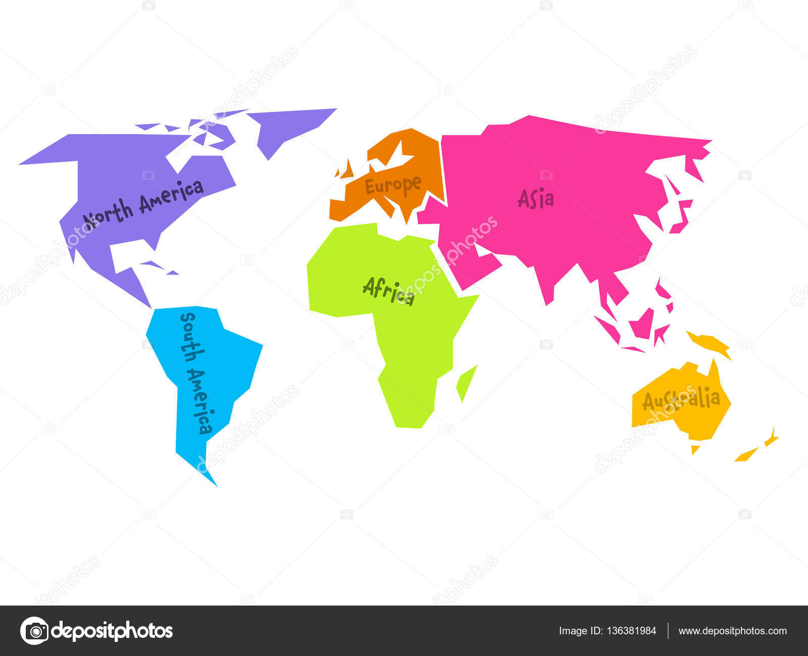 Simplified world map | Simplified world map divided to six ... on blue world map vector, simple world map vector, black white world map vector, detailed world map vector,