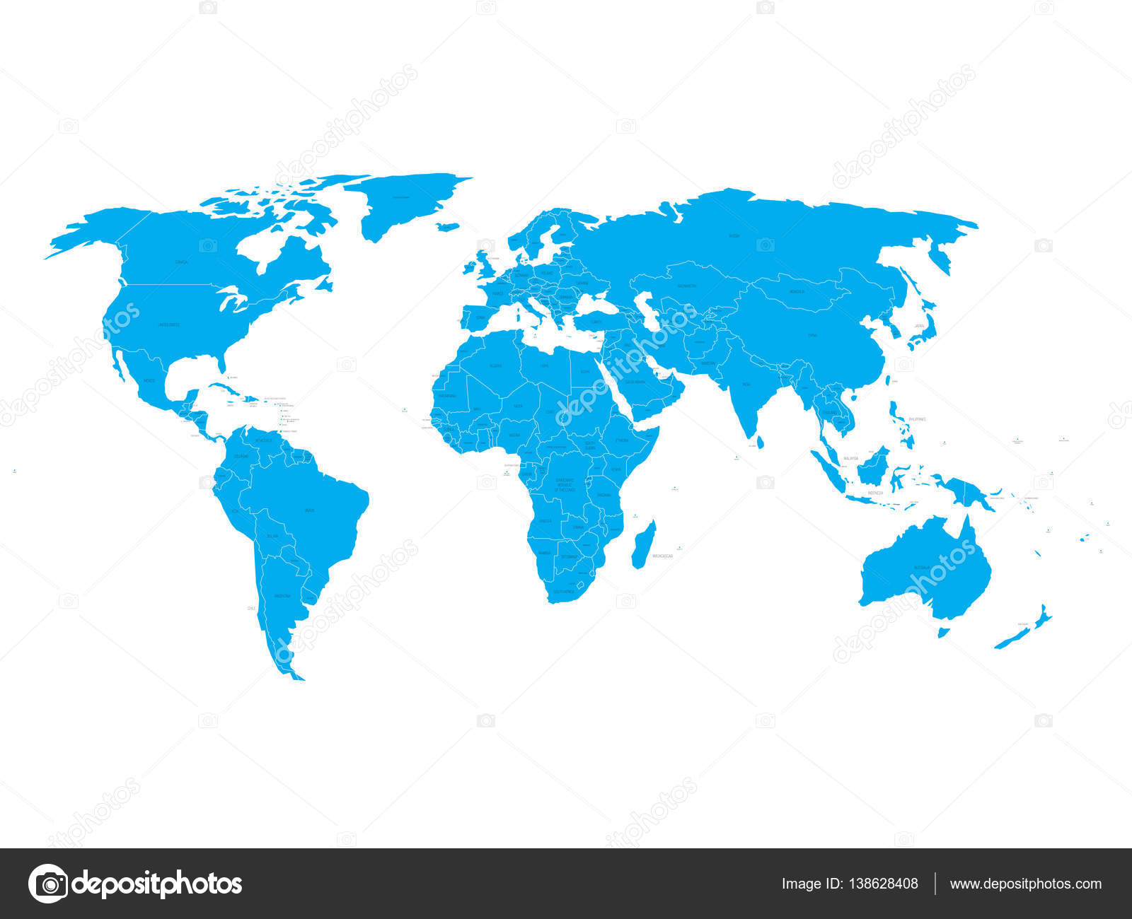 Vector world map with state name labels blue land with black text vector world map with state name labels blue land with black text on white background gumiabroncs Image collections