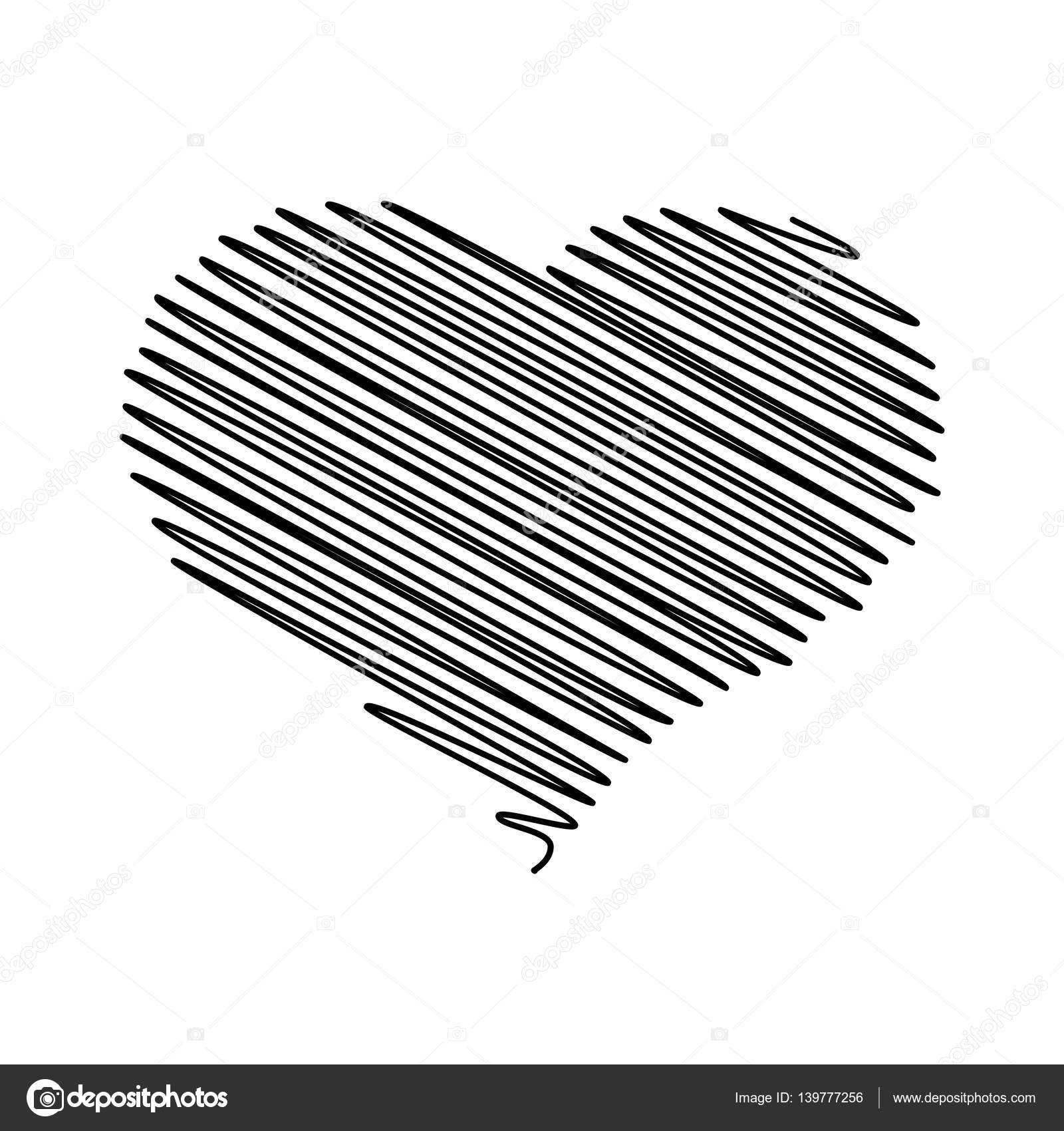 Heart pencil scribble sketch drawing in black on white