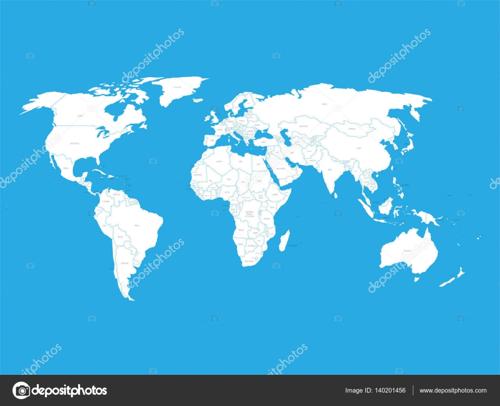 Political vector World Map with state name labels. White land with ...