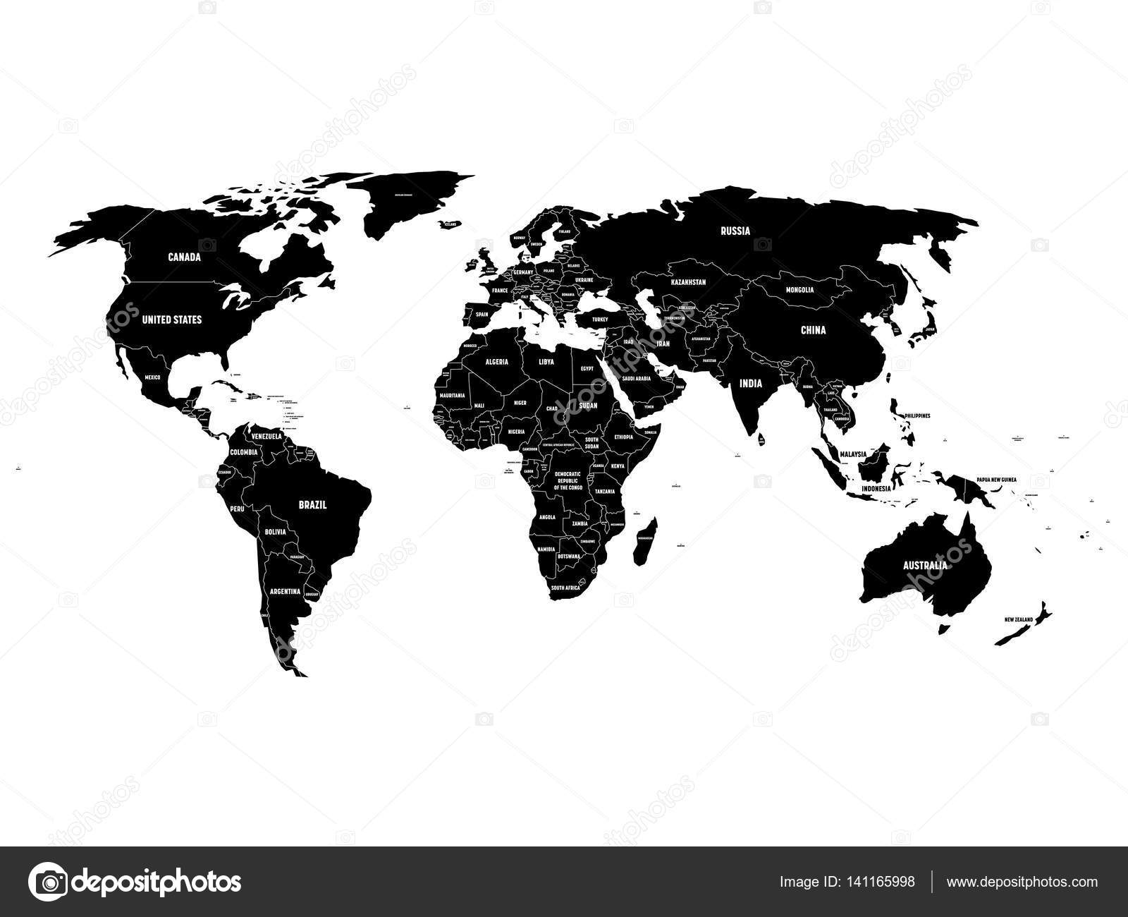 Black political world map with country borders and white state name black political world map with country borders and white state name labels hand drawn simplified gumiabroncs Images