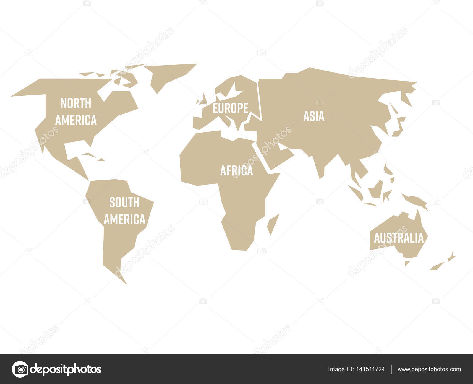 Simplified beige silhouette of world map divided to six continents simplified beige silhouette of world map divided to six continents simple flat vector illustration on gumiabroncs Choice Image