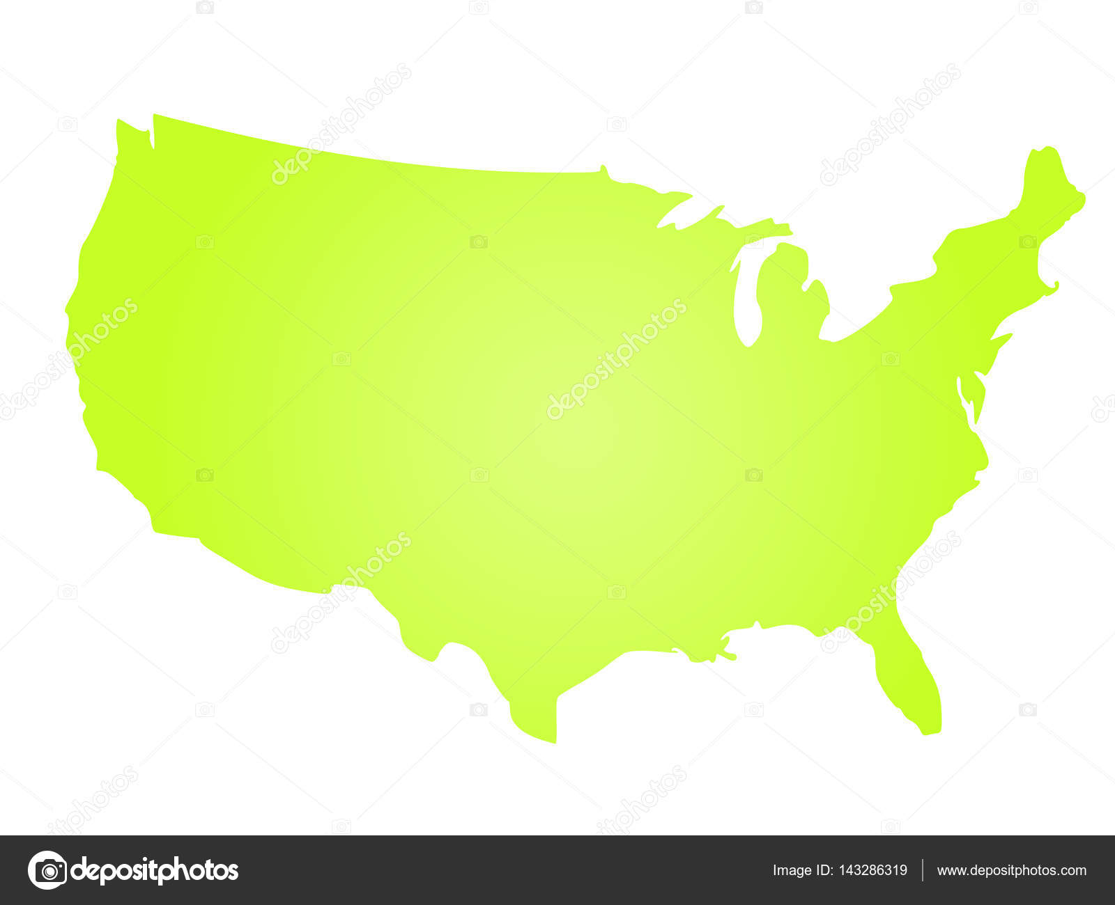 green radial gradient silhouette map of united states of america aka usa vector illustration