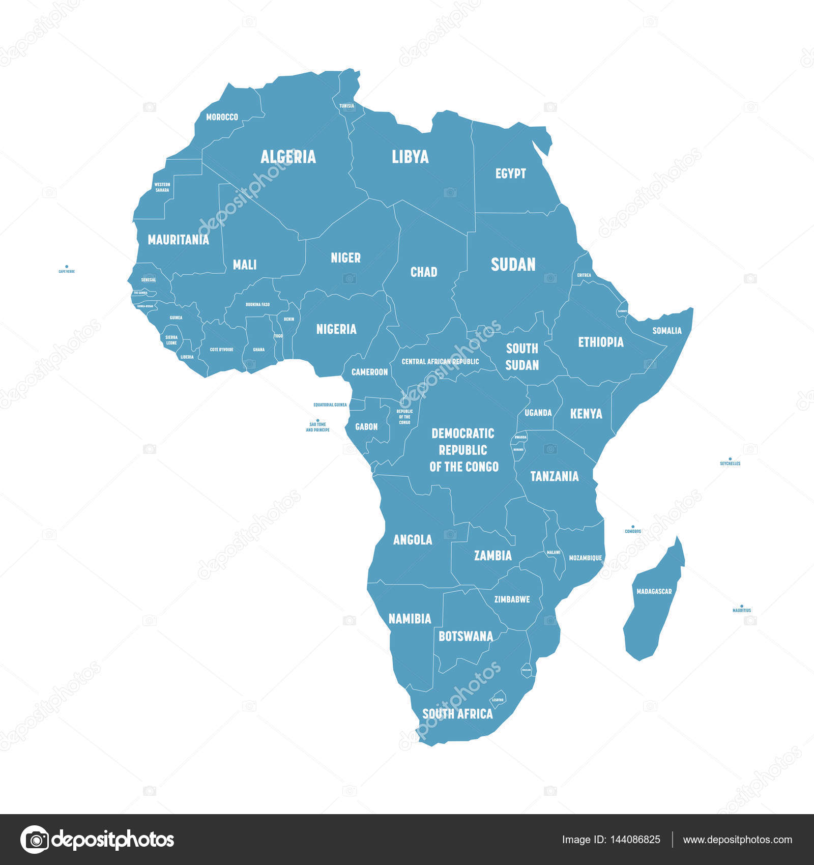 Simple flat blue map of africa continent with national borders and simple flat blue map of africa continent with national borders and country name labels on white gumiabroncs Gallery
