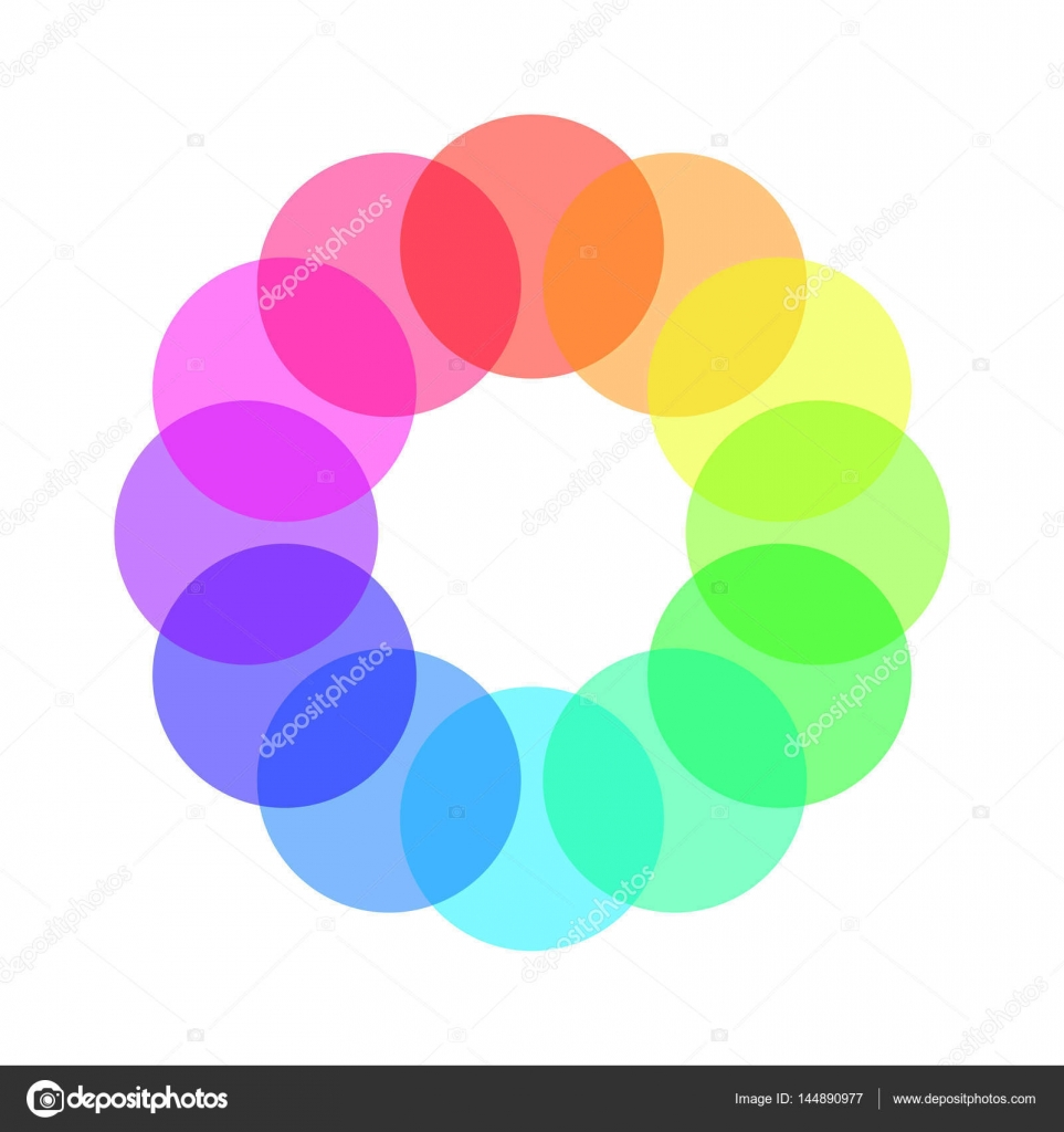 Partly Transparent Rainbow Spectrum Color Circles Arranged In The Ring Vector Illustration Stock