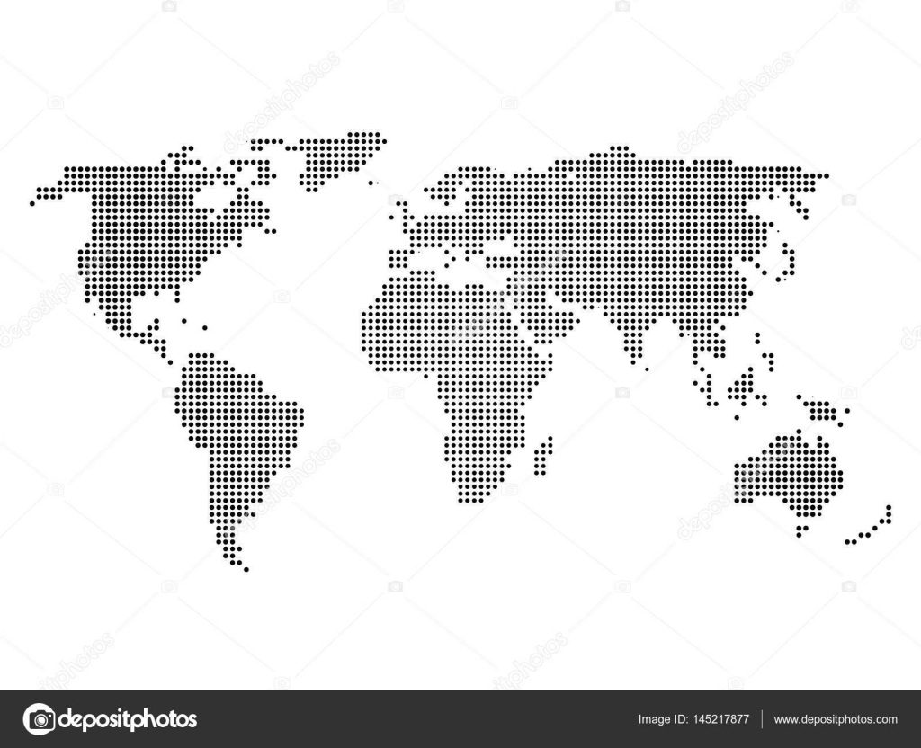 Black halftone world map of small dots in linear arrangement simple black halftone world map of small dots in linear arrangement simple flat vector illustration on gumiabroncs Images