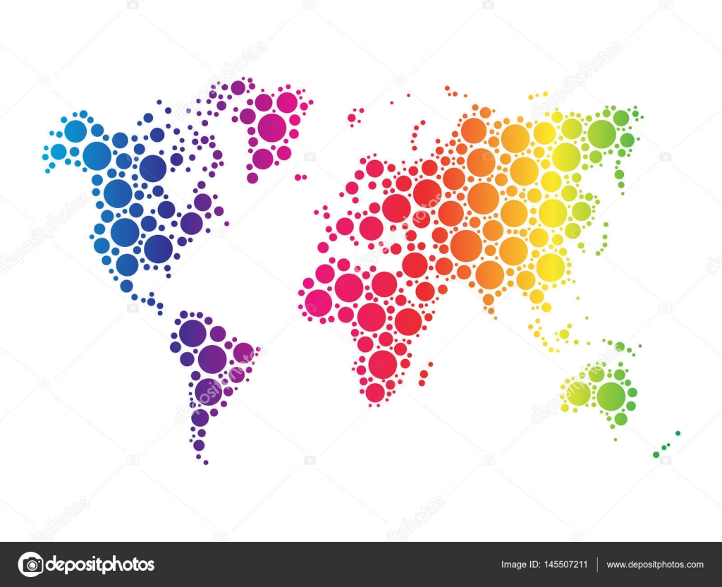 World map wallpaper mosaic of dots in rainbow spectrum colors on world map wallpaper mosaic of dots in rainbow spectrum colors on white background vector illustration gumiabroncs Image collections