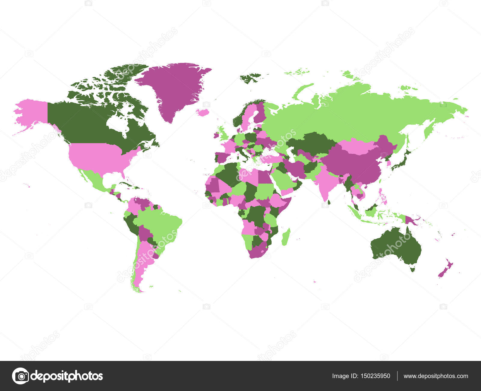 Political Map Of World Countries In Four Different Violet And Green