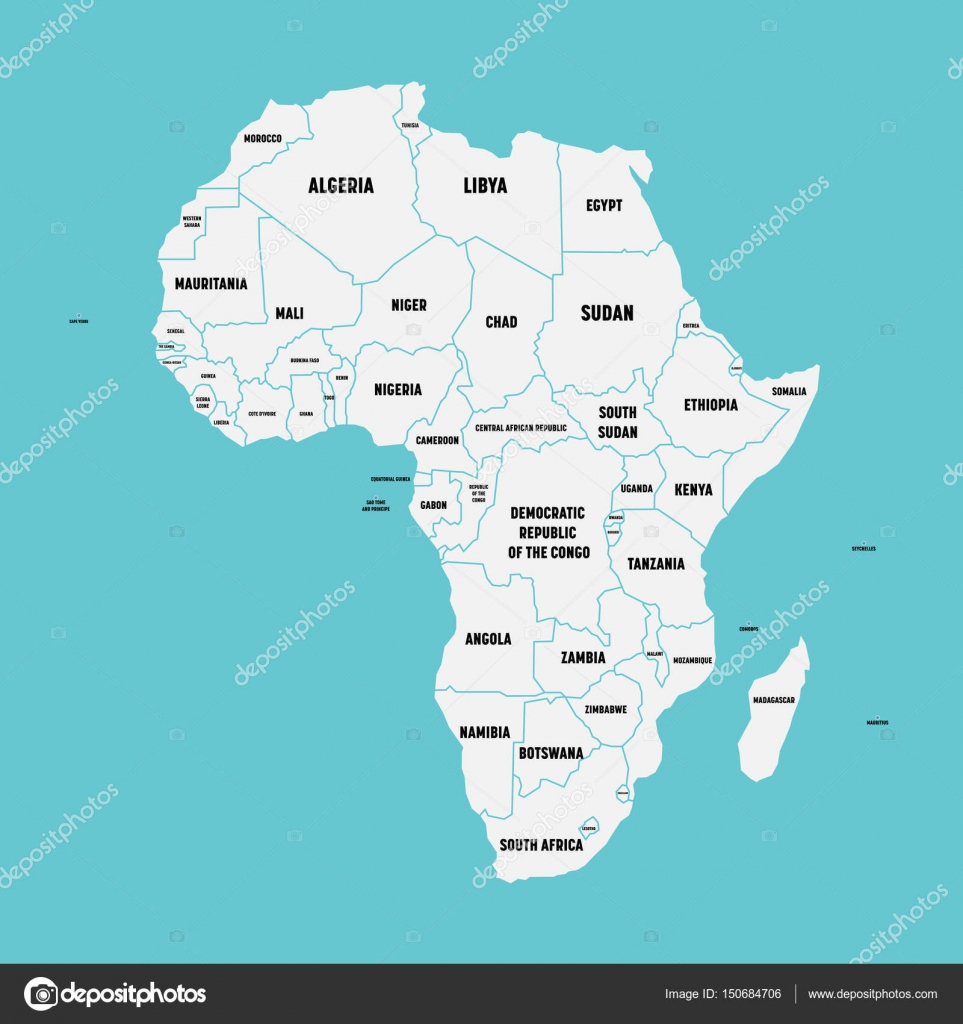 Simple flat map of africa continent with national borders and simple flat map of africa continent with national borders and country name labels on blue background gumiabroncs Images