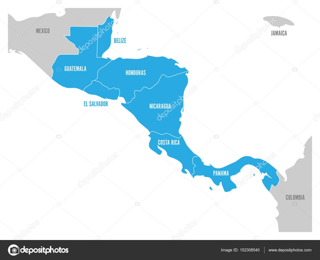 Map of central america region with blue highlighted central map of central america region with blue highlighted central american states country name labels simple flat vector illustration vector by pyty gumiabroncs