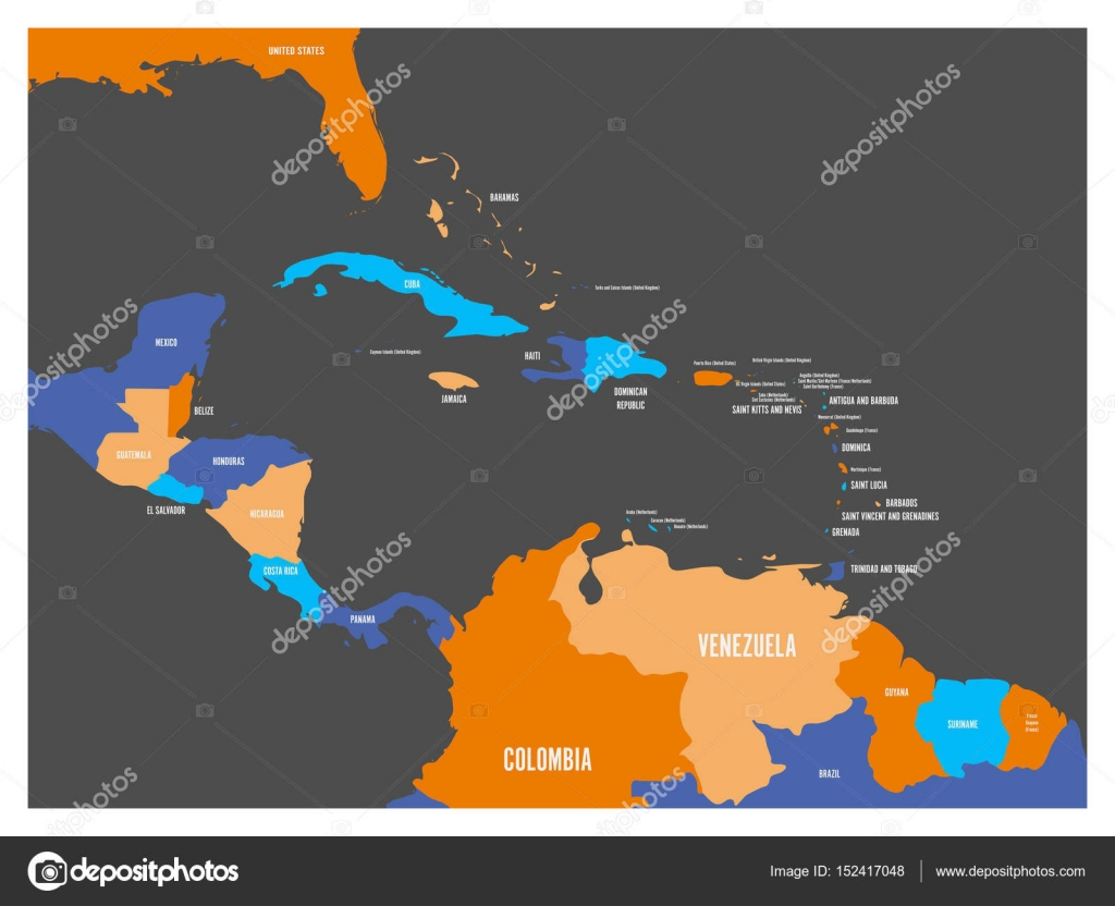 Central america and carribean states political map with country central america and carribean states political map with country names labels simple flat vector illustration gumiabroncs Images