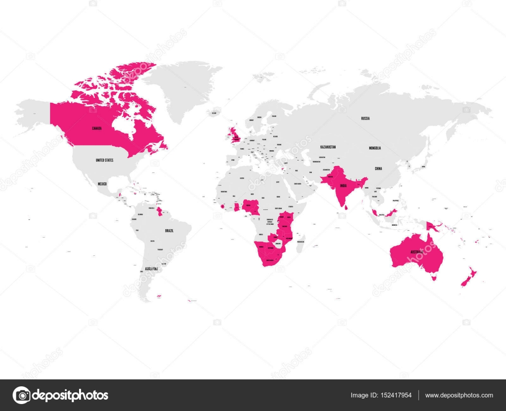 Member states of the british commonwealth pink highlighted in the member states of the british commonwealth pink highlighted in the world map vector illustration gumiabroncs Gallery
