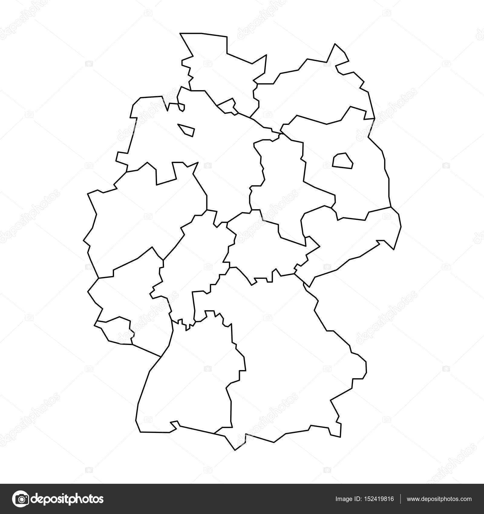 Map Of Germany Devided To 13 Federal States And 3 City States