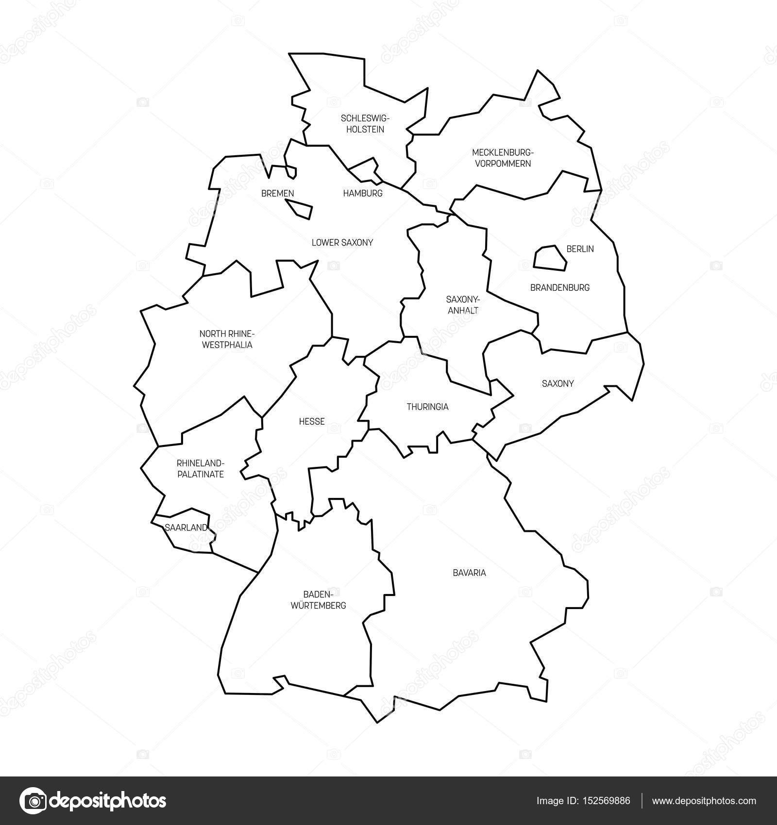 Carte Allemagne Noir Et Blanc.Carte De L Allemagne Divisee A 13 Etats Federes Et 3 Cites