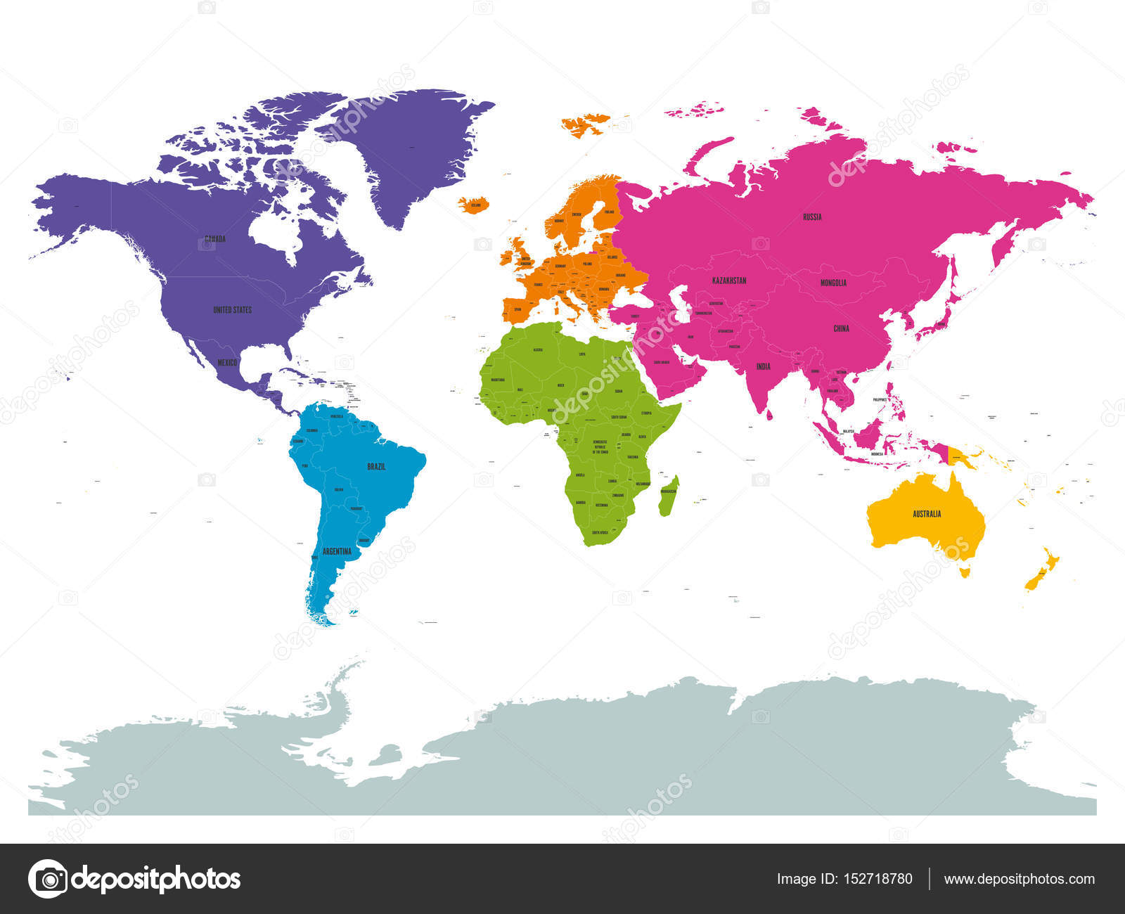 World Map With Country Labels.Political World Colored By Continents With Country Labels Om White