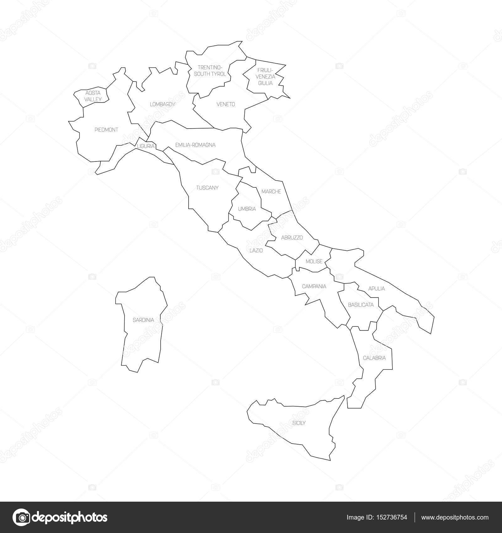 Cartina Italia Regioni Bianco E Nero.ᐈ Sagoma Italia Con Regioni Vettore Di Stock Fotografie Sagoma Regioni Italia Scarica Su Depositphotos
