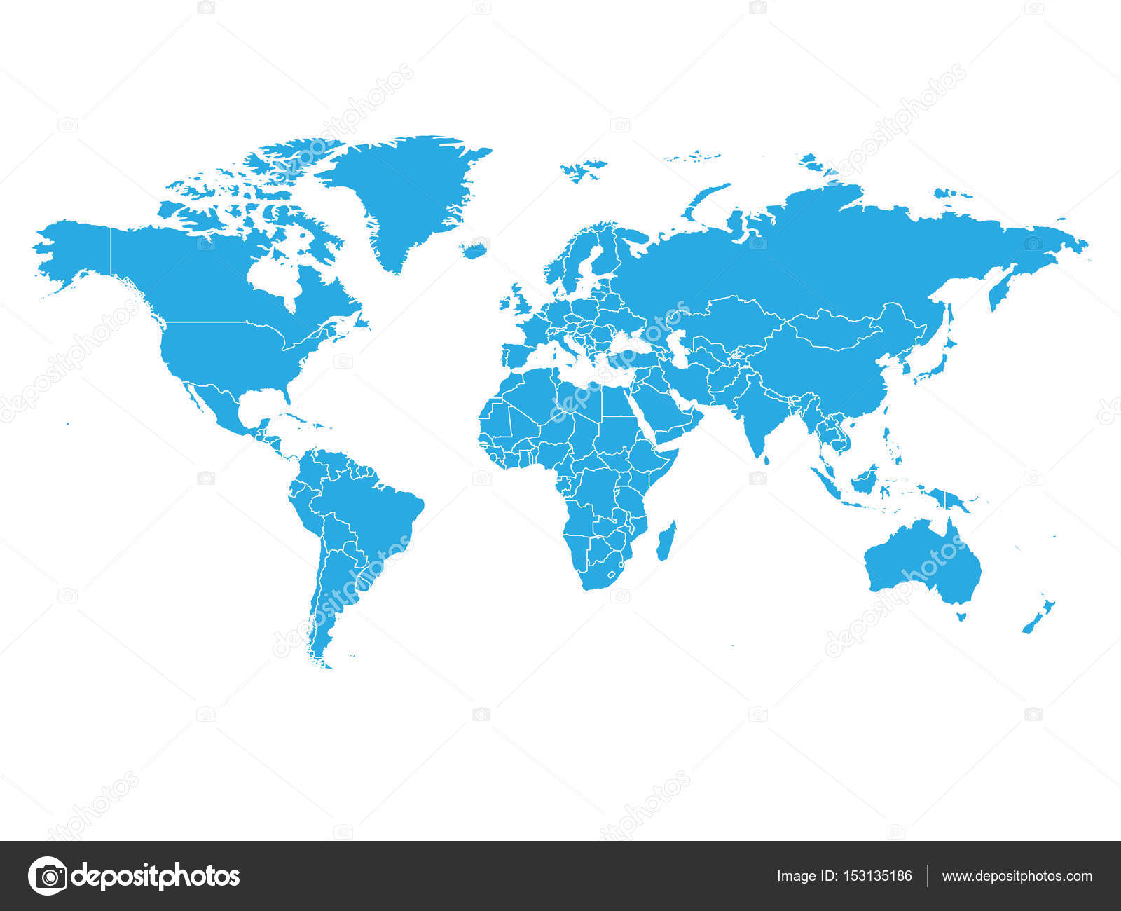 World map in blue color on white background high detail blank world map in blue color on white background high detail blank political map vector gumiabroncs Gallery