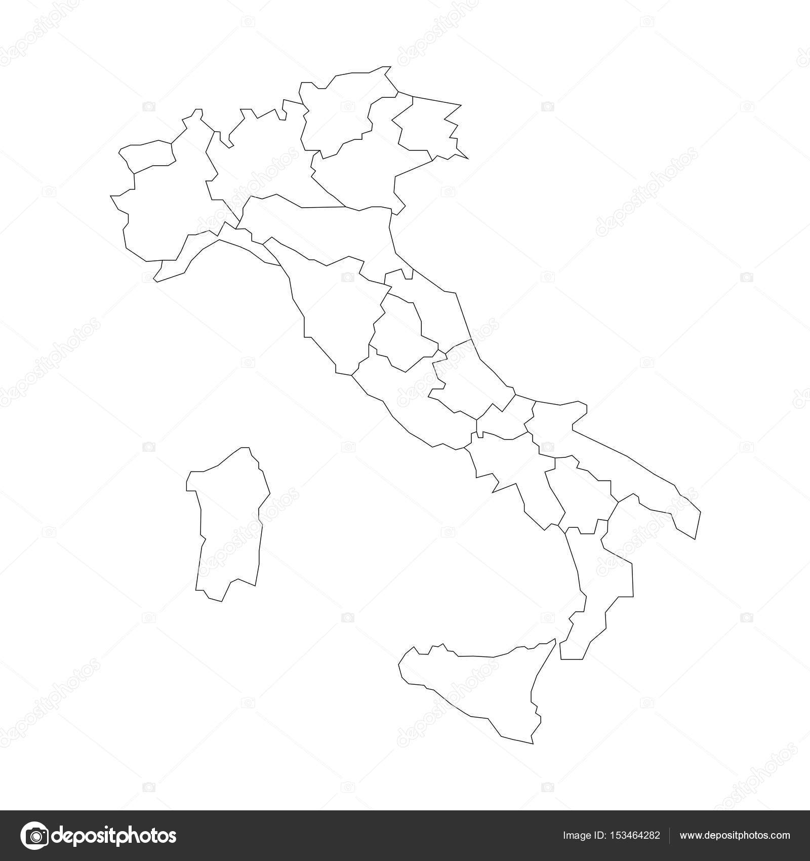 Black And White Map Of Italy.Map Of Italy Divided Into 20 Administrative Regions White Land And