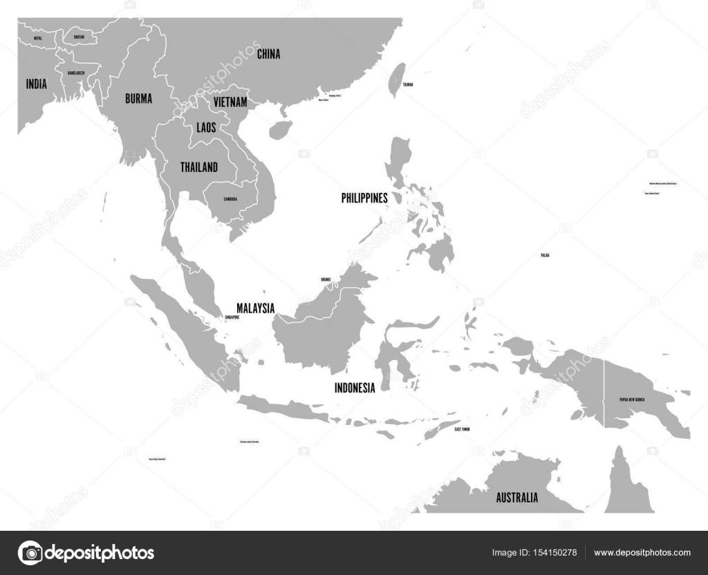 South east asia political map grey land on white background with south east asia political map grey land on white background with black country name labels gumiabroncs Images