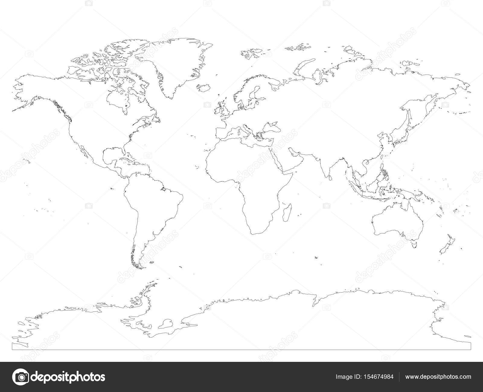 High detailed outline of world map with antarctica simple thin high detailed outline of world map with antarctica simple thin black vector stroke on white gumiabroncs Image collections