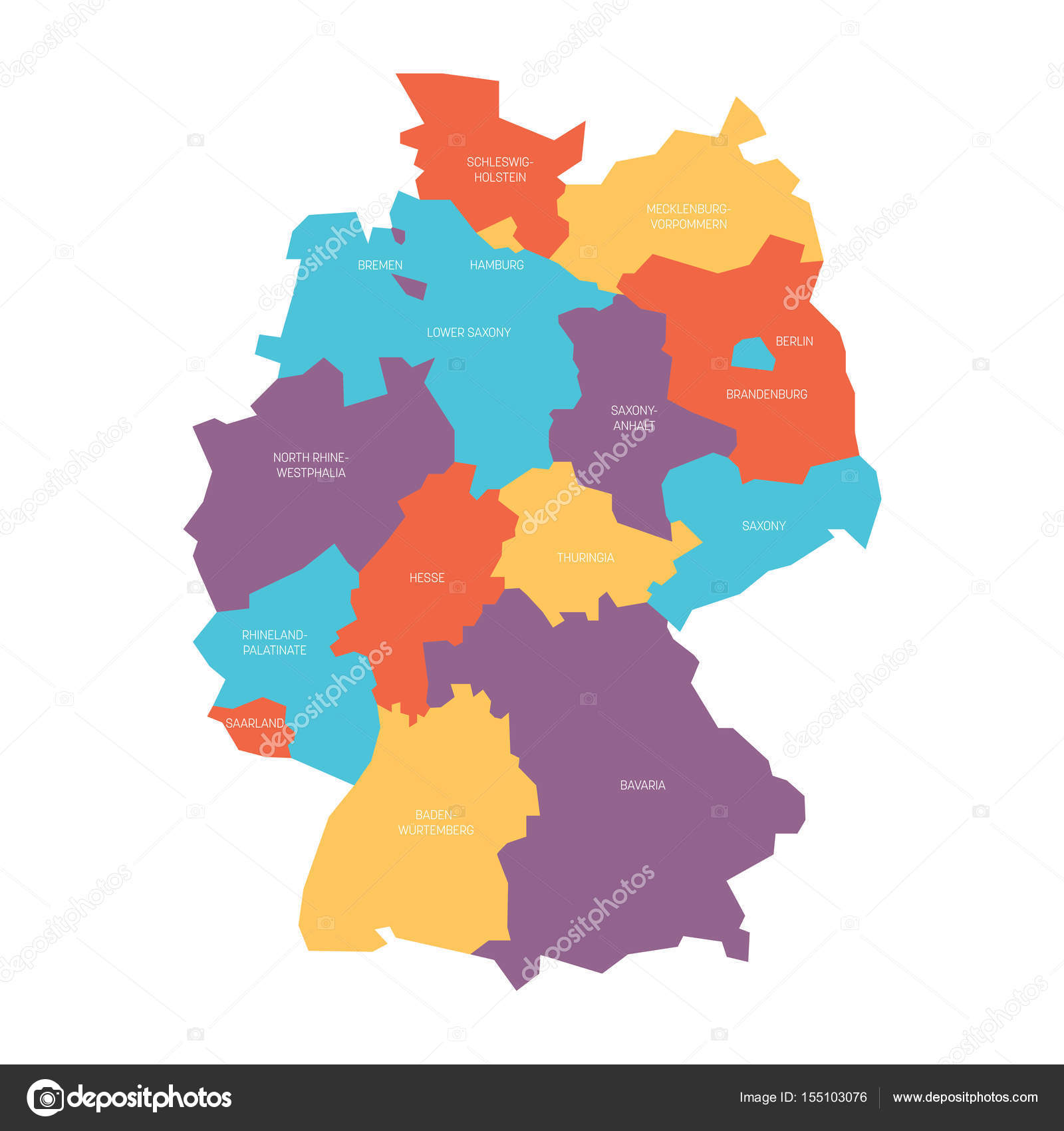 Map of Germany devided to 13 federal states and 3 city-states ...