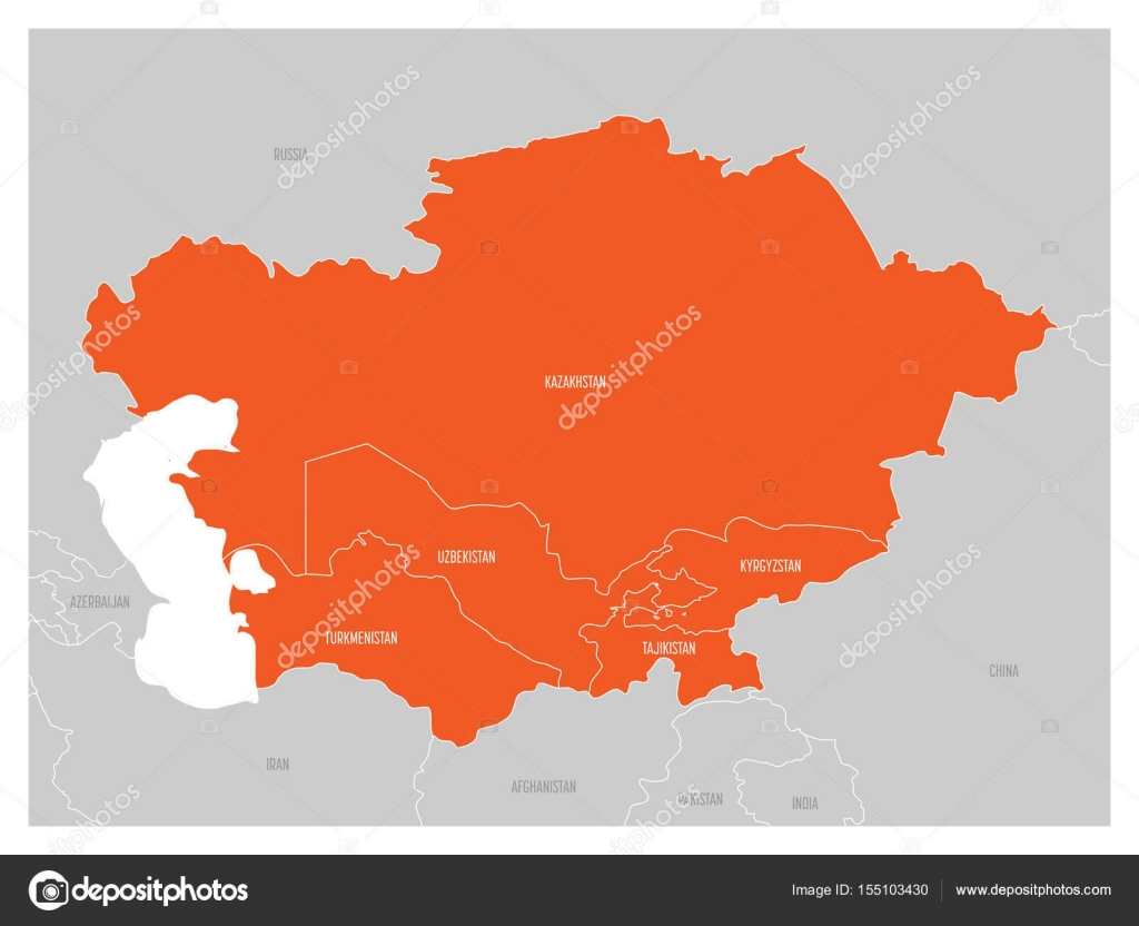 Map Of Asia Kyrgyzstan.Map Of Central Asia Region With Orange Highlighted Kazakhstan