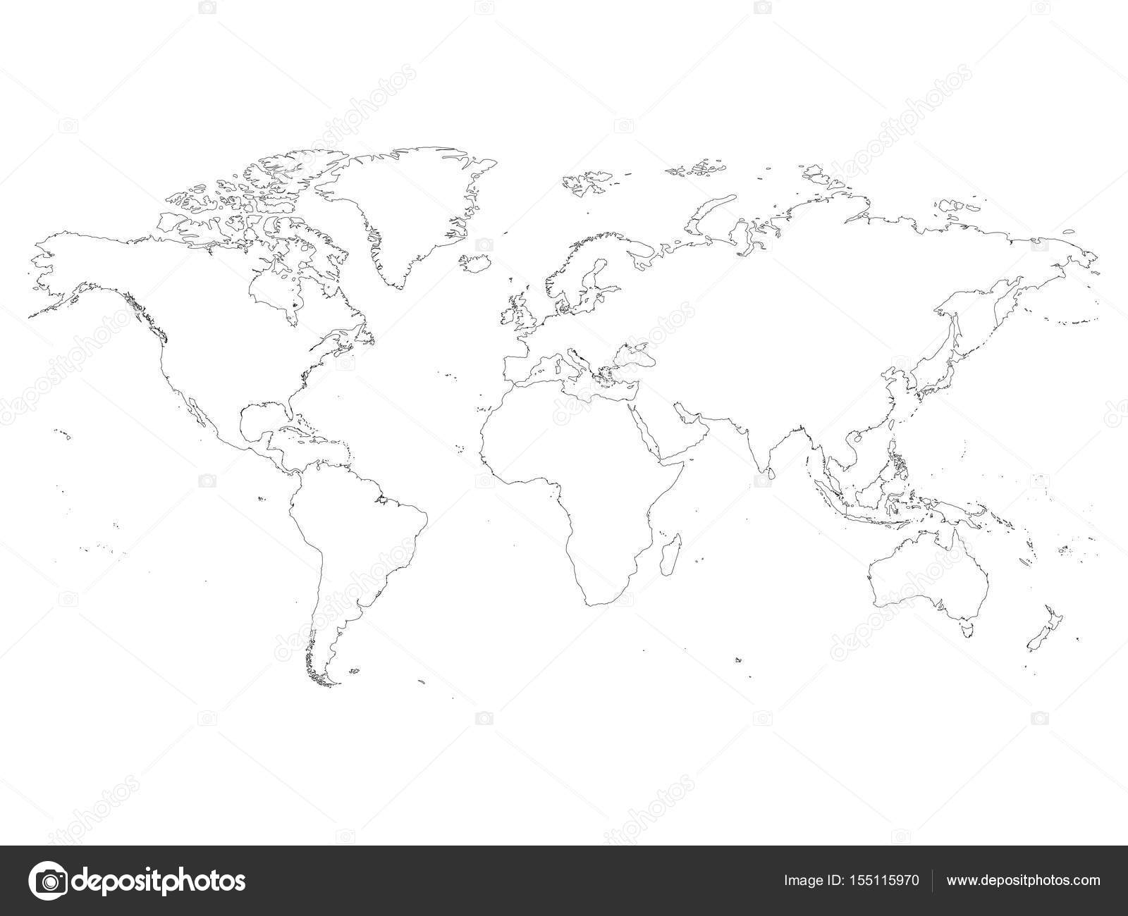 High detailed outline of world map simple thin black vector stroke high detailed outline of world map simple thin black vector stroke on white background gumiabroncs Choice Image