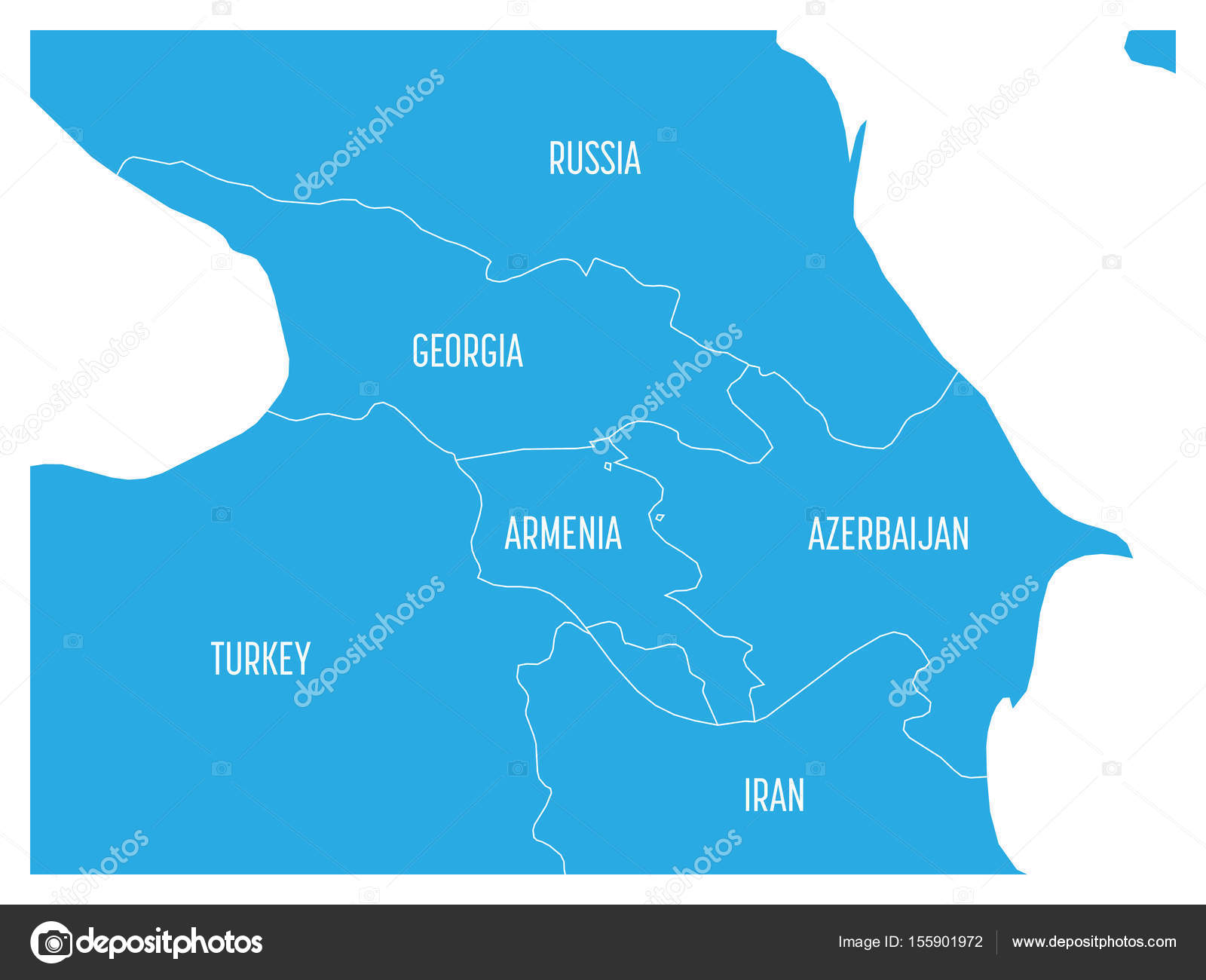 Map of caucasian region with states of georgia armenia map of caucasian region with states of georgia armenia azerbaijan russia turkey and iran flat blue map with white country borders and labels gumiabroncs Image collections