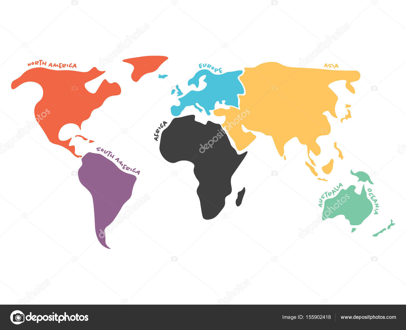 Multicolored simplified world map divided to continents stock multicolored world map divided to six continents in different colors north america south america africa europe asia and australia oceania gumiabroncs Image collections