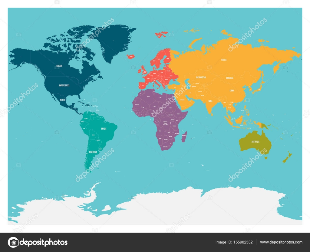 Political map of world with Antarctica. Continents in ...