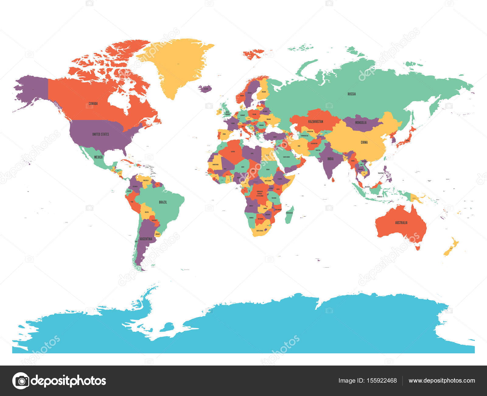 Political map of world with antarctica countries in four different political map of world with antarctica countries in four different colors without borders on white gumiabroncs Image collections