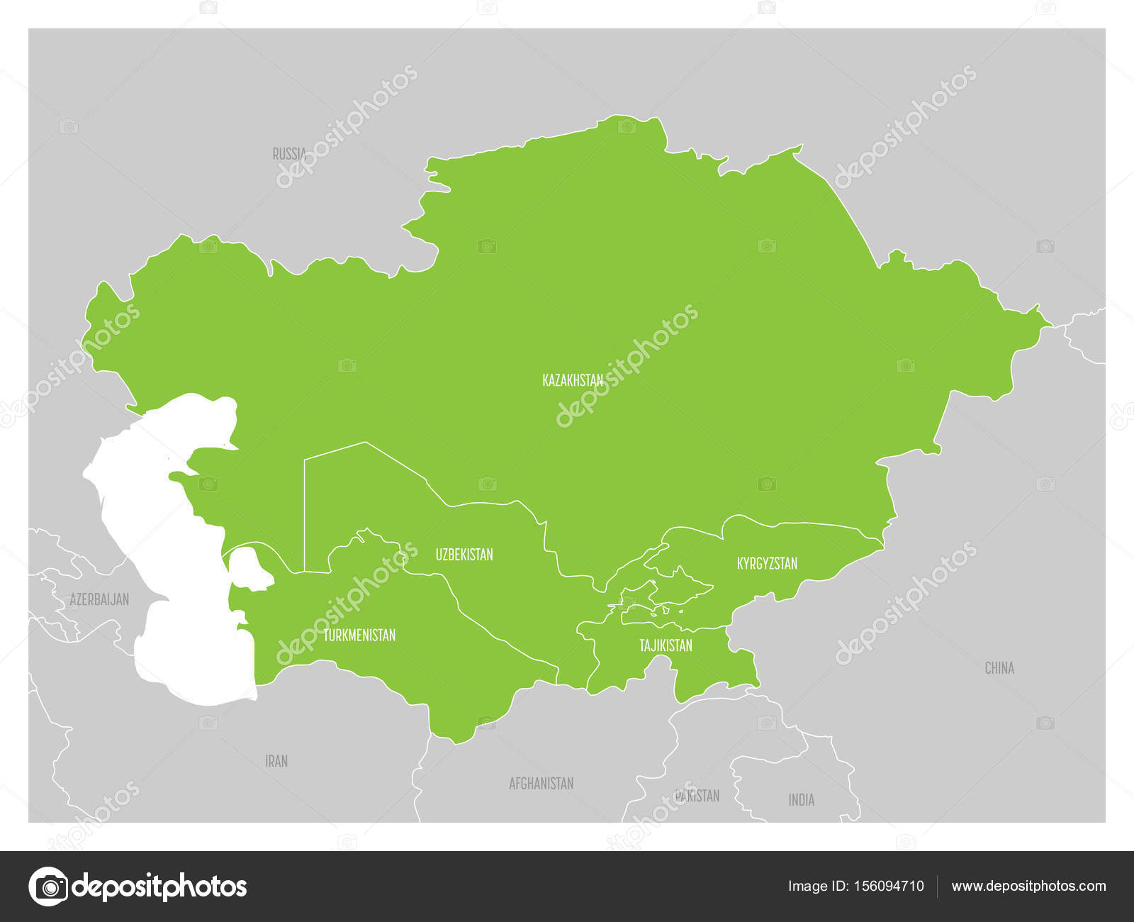 Map Of Central Asia Region With Green Highlighted Kazakhstan - Tajikistan map vector